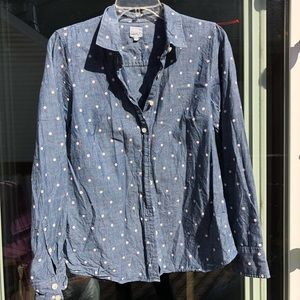 Small womens j crew chambray shirt with polka dots